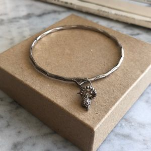 Jewelry - Carved Silver Bangle with Ornate Bell Charm